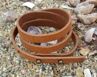 Mens Wrap Bracelet Gift for Dads Light Brown Leather Surfer Surf Triple Wraps Slit Closure