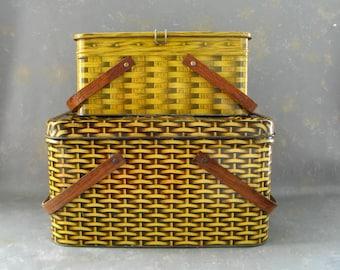 Vintage Metal Hamper Basket, picnic, kitchen storage, gold, tan, basket weave, glamiping, camper decor