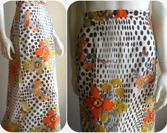 op art flower power mod maxi skirt 70s vintage