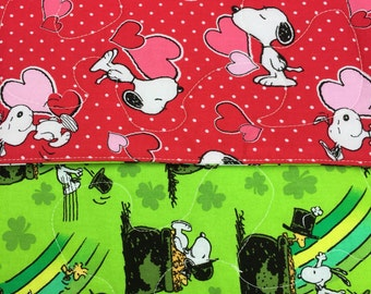 """Table Runner - Reversible, Snoopy On One Side Valentine and Snoopy On Other Side St. Patrick  11"""" x 38"""""""
