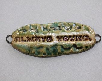 Ceramic word pendant  connector bracelet bar Handmade word component Artisan Clay art bead organic earthy porcelain word bead potterygirl