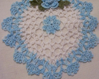 crocheted heart doily hand dyed blue and white  handmade
