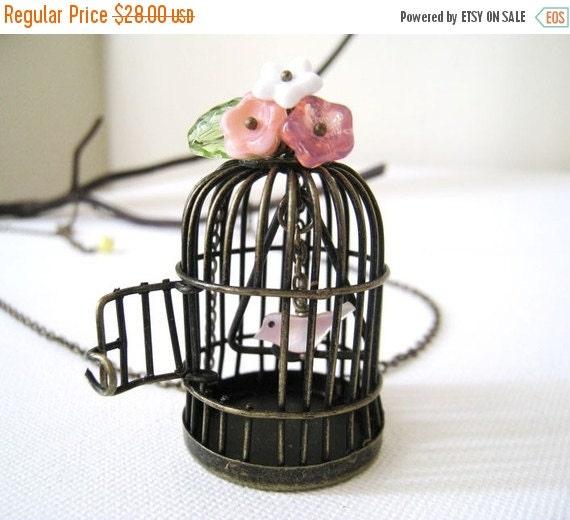 Holiday Sale Birdcage Necklace. antique bronze birdcage necklace. bird necklace. garden necklace. long chain necklace. vintage wedding. birt