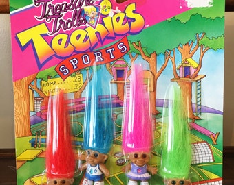 Vintage Treasure Trolls Teenies Sports 1992 New in Packaging Mini Wishstones