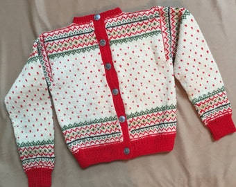 Vintage 50's Child's Sweater, Nordic Christmas Cardigan Ski Sweater, Hand Knit Wool, Cream, Red, Green, Small,SALE