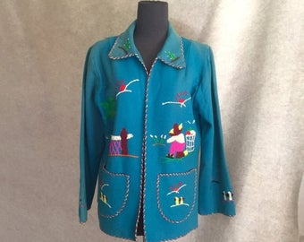 Vintage 50's Mexican Jacket, Embroidered Souvenir Coat, Blue Turquoise Wool Flannel, Size Small to Medium, Rockabilly Style