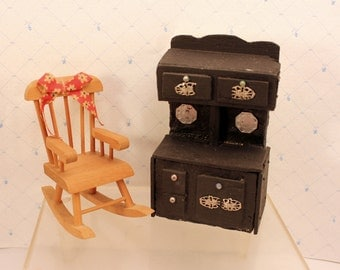 Miniature Dollhouse Wood Cook Stove Range Rocking Chair Kitchen Furniture Vintage Handmade
