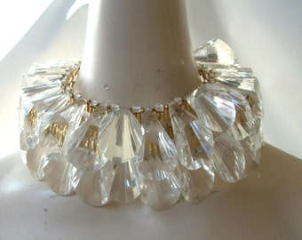 William DeLillo Massive Lucite Necklace and Earrings Crystal Cone Drop  Choker Collar