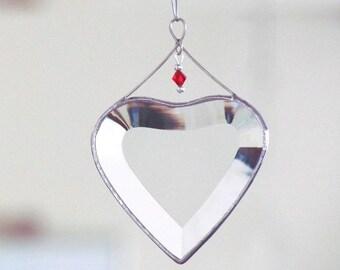 January Birthday Glass Heart Suncatcher with Red Siam Glass Crystal Birthday Beveled Glass Heart Ornament Handmade in Canada Gift Idea