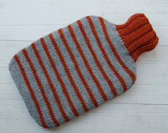 Knitted hot water bottle cover gray and orange stripes wool and alpaca