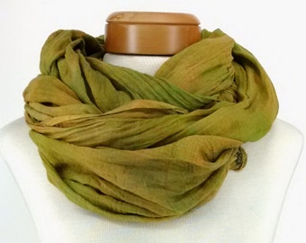 Cotton Gauze Hand Dyed Scarf in Mustard and Greens, Extra Long Scarf, Head Wrap, Head Scarf