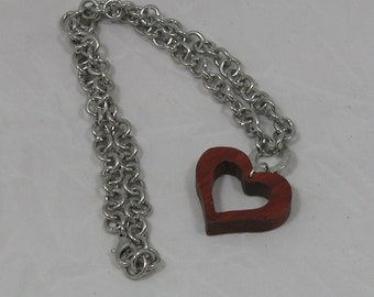 Necklace Open Heart Pendant with Rich Reddish Brown Color and Chunky Chain