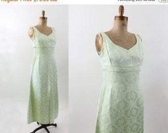 1960s dress - 60s cocktail dress - mint green - vintage formal dress - empire waist dress