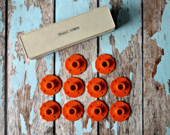 Vintage 1960s Sears Kenmore Sewing Machine Attachments – Orange Cams - Set of 10 - Original Box - Vintage Sewing - Sewing Enthusiast Gift