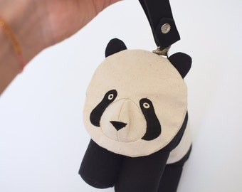 Panda Purse with Detachable Leather Wristlet/ Women's Accessory by Dandyrions