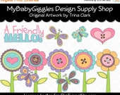ON SALE Fun Spring Flowers Clip Art Digital Graphics Scrapbook Card Making Supply INSTANT Download