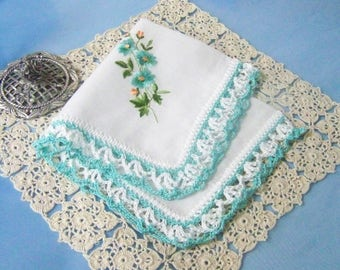 Aqua Handkerchief, Hanky, Hankie, Hand Crochet, Lace, Crochet Lace, Floral, ladies, Women's, Embroidered, Personalized, Ready to ship