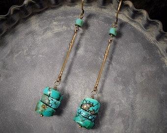 Minimalist Turquoise Gemstone Earrings African Turquoise Earrings Natural Turquoise Drop Earrings Simple Rustic December Birthstone
