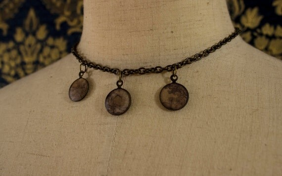 Antique Bronze Calligraphy Scroll Necklace