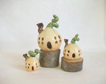 Small Pumpkin Fairy Houses  - Handmade, Wheel Thrown -- 3 Sizes - Small - Smaller - Smallest - Actual Pumpkin Houses