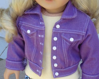 Purple Jean Jacket, Leggings And T-Shirt Outift  For American Girl or Similar 18-Inch Dolls