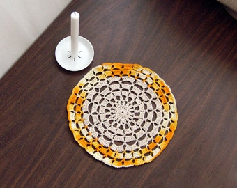 Crochet Lace Doily, Shades of Yellow, Orange, Gold, Ecru, Table Mat, Home Accessory, New Fiber Art