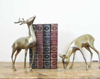 Vintage Large Brass Deer Pair 10 Inch Buck 7 Inch Doe 4.5 Inch Spotted Fawn Animal Figurines Se8