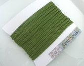 Moroccan very narrow woven flat braid, Kale green art silk,  5 metres