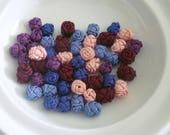 Moroccan art silk  beads/buttons,handmade, flowers rosebud, mixed colours set of 50