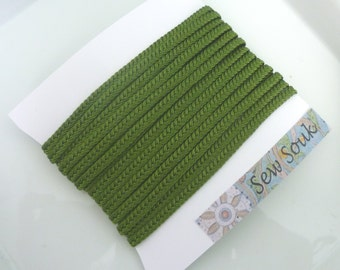 Moroccan very narrow woven flat braid, Kale green art silk,  5 metres
