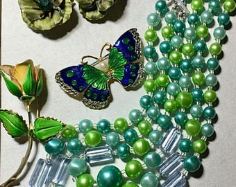 Vintage Lot Green Jewelry - Mid Century - Epsteam - Lime green Jewelry - Plastic Jewelry - Bib Necklace - Butterfly Rose - Rhinestone Brooch