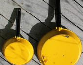 Pots, Mid Century, Yellow,Frying Pans, Enamel, Cookware,70s,