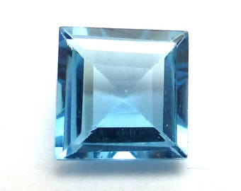 London Blue Topaz Princess Cut Gem Stone Square Sky Engagement Ring Stone will work in PMC Jewelry