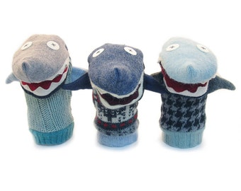 Cate and Levi Handmade Shark Hand Puppet (Premium Reclaimed Wool), Colors Will Vary