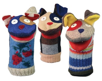Cate and Levi Handmade Dog Hand Puppet (Premium Reclaimed Wool), Colors Will Vary