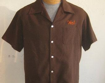 HOLIDAY SALE Vintage 50s Bowling Shirt Brown Chain Stitched Tierrasanta San Diego Team Captain Shirt Hal