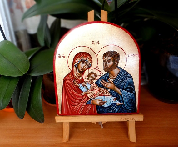 The Holy Family handpainted icon, Wedding Gift, Baptism Gift, Mary Joseph an Christ original icon,  7 x 8 inches