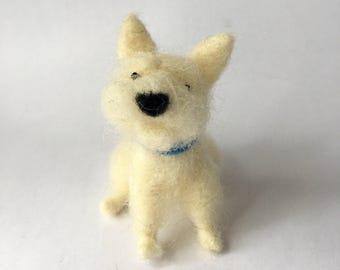 Needle Felted West Highland Terrier Dog, Sitting