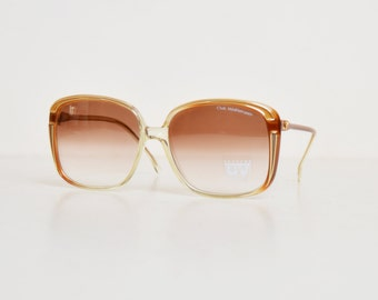 Vintage 70s Oversized Brown Sunglasses / 1970s Gradient Brown Shades