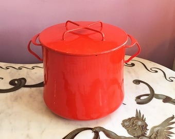 Vintage 60s RED Dansk Stock Pot / 1960s Enamel Kobenstyle Dansk Dutch Oven 8 QT