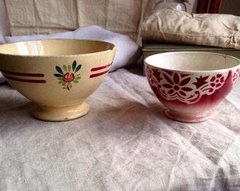 Vintage French Cafe au Lait Bowls Antique Floral Dishes Rustic Farmhouse Kitchen Home Decor 2pc