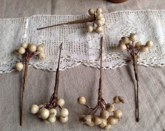 Rare Wax Flowers Edwardian Floral Wedding Buds Pips Wax Flowers/ Vintage Wedding Corsage Something Old Victorian Bride Last one!!