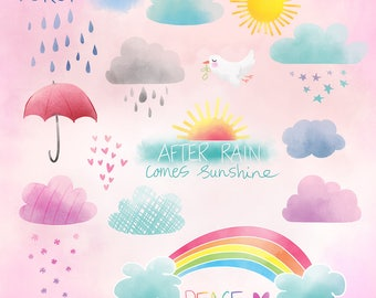 NEW!! Weather Sunshine Peace Forgiveness Clip art and Digital Stamps