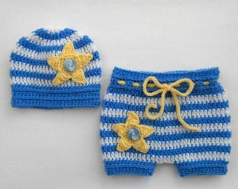 Newborn Baby Crochet Outfit _Baby Twinkle Star Outfit_ Crochet Baby Hat and Shorts _Newborn Baby Boy Photo Props_Newborn Baby First Outfit
