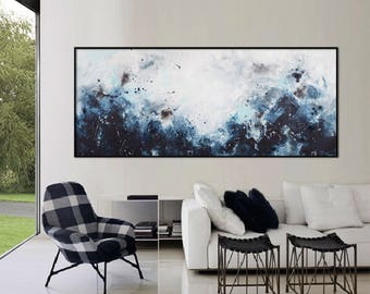 Large Abstract seascape giclee print on canvas from painting horizontal black blue white grey 'in March' 612