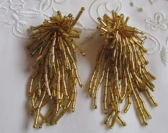 Vintage Gold Tone Multi-Strands of Gold Glass Beaded Clip On Earrings