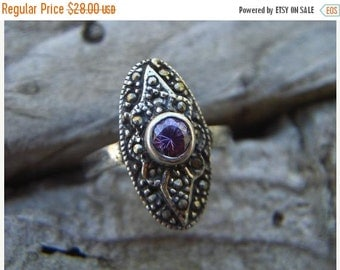 ON SALE Vintage Victorian marcasite ring in sterling silver