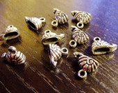 Destash (10) Little Snail beach silver charms - for pendants, jewelry making, crafts, scrapbooking