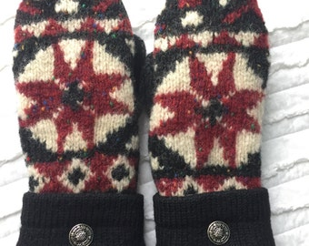 Sweater Mittens - Wool Mittens made from recycled sweaters - Felted  - black, red - white - stocking stuffer - Christmas gift