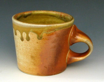 WOOD FIRED MUG #8 - Stoneware Mug - Coffee Mug - Pottery Mug - Ceramic Mug - Tea Mug - Earthy Colored Mug - Studio Pottery